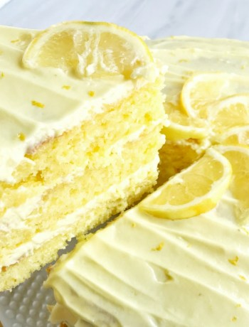 This easy lemon layered cake is for true lemon lovers! 3 layers of moist, sweet, lemon cake frosted with fluffy, light, lemon pudding frosting! Jazz up a boxed cake mix for the ultimate layered cake dessert that is easy and bursting with lemon flavor.