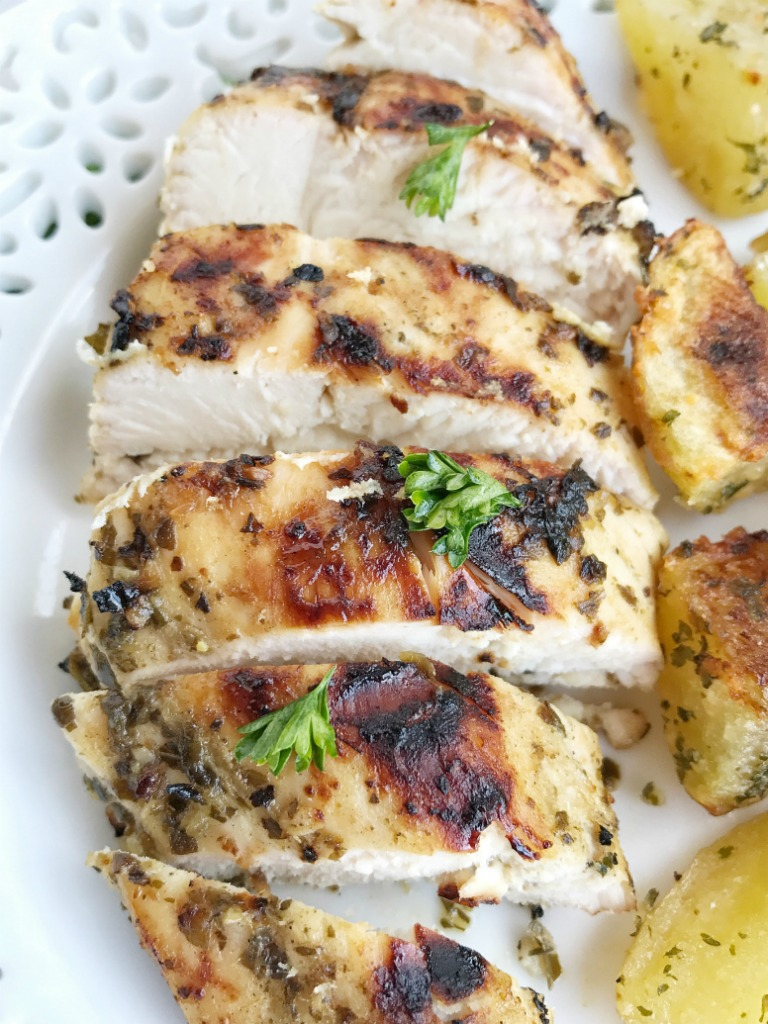Grilled Pesto Marinated Chicken - Together as Family