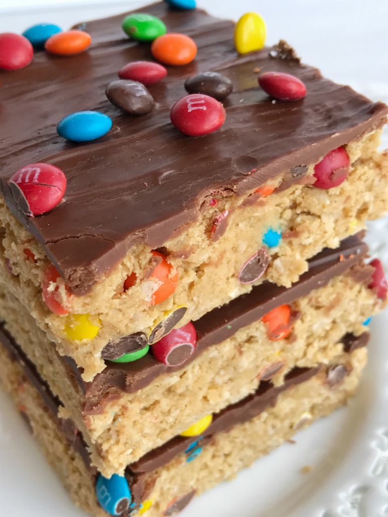 All your favorites about monster cookies but in no-bake, egg free monster cookie dough bars! Peanut butter, oats, chocolate, and m&m's. These can be made in just minutes and are a fun treat or dessert for the kids to make. Everyonewill lovethese easy and simple cookie dough bars.