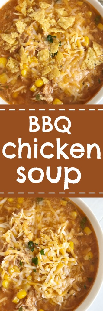 BBQ chicken soup that tastes just like the pizza! Flavorful base of chicken broth and BBQ sauce, loaded with garlic, shredded chicken, roasted corn, and spices. This is a quick & simple dinner and the perfect way to use leftover shredded chicken or BBQ chicken | togetherasfamily.com
