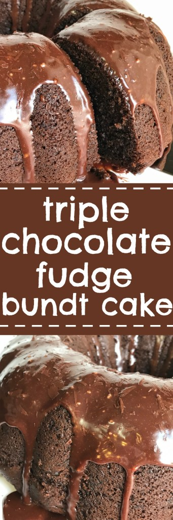 You won't believe how easy this triple chocolate fudge bundt cake is to make. Starts with a boxed cake mix that doctored up with chocolate three ways and topped with a milk chocolate ganache glaze. This cake is so moist and loaded with chocolate. Perfect for dessert or even a birthday cake.