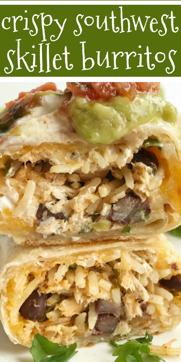 Crispy Southwest Chicken Skillet Burritos | Chicken Recipes | Mexican Food | Burritos | These crispy southwest chicken skillet burritos are so easy to make, versatile, and a quick & easy 30 minute dinner! All your favorite burrito fillings cooked to crispy perfection in a skillet pan. #mexicanfood #dinner #easydinnerrecipes #chicken #recipeoftheday