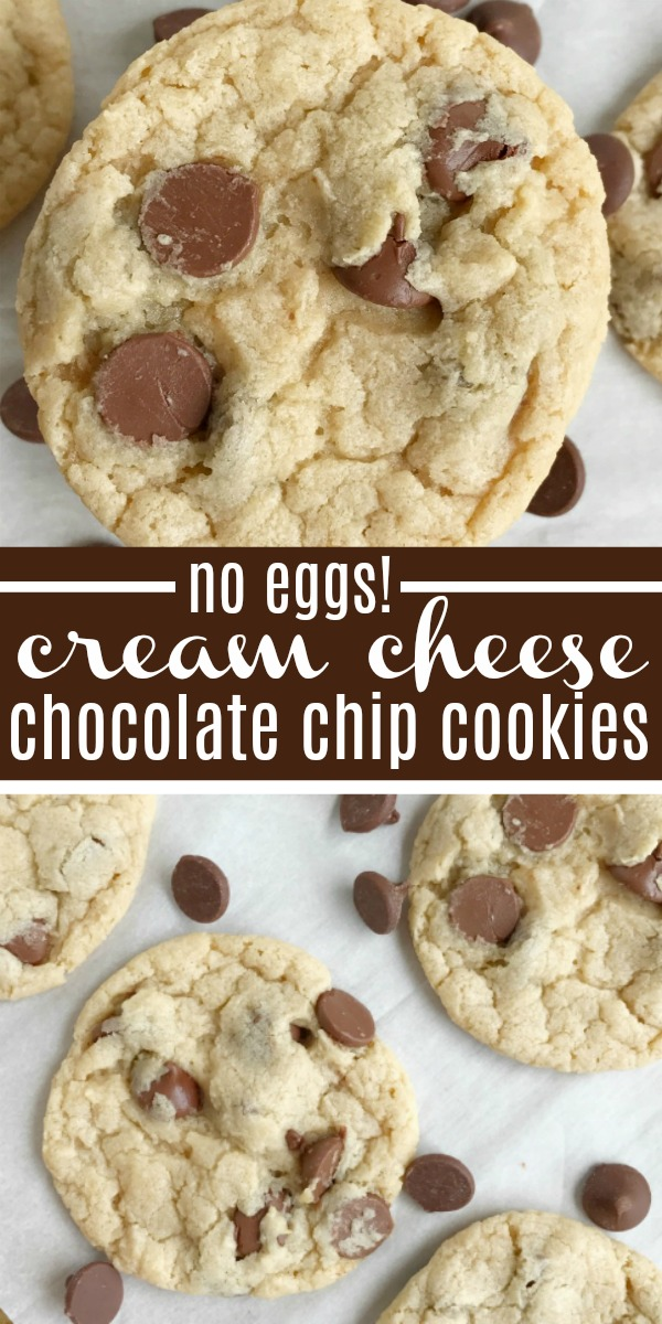 {no egg} Cream Cheese Chocolate Chip Cookies | Chocolate Chip Cookie Recipe | No egg | Dessert | Cookies | Cream cheese chocolate chip cookies are a fun twist to the classic chocolate chip cookie recipe, but without any egg! Soft-baked, sweet, and creamy chocolate chip cookie loaded with milk chocolate chips. #chocolatechipcookies #cookierecipe #cookies #noegg #eggfree #dessertrecipes