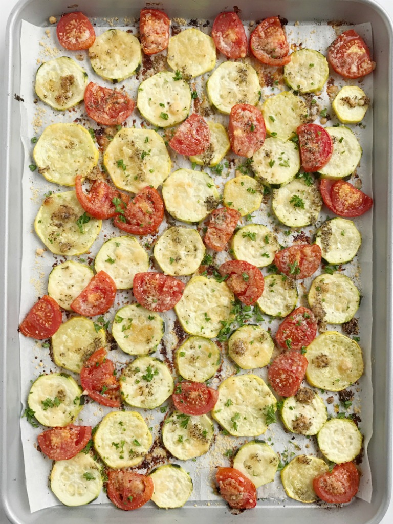 Roasted garlic parmesan summer vegetables together as family roasted garlic parmesan summer vegetables are roasted in olive oil flavorful seasonings and parmesan sciox Choice Image