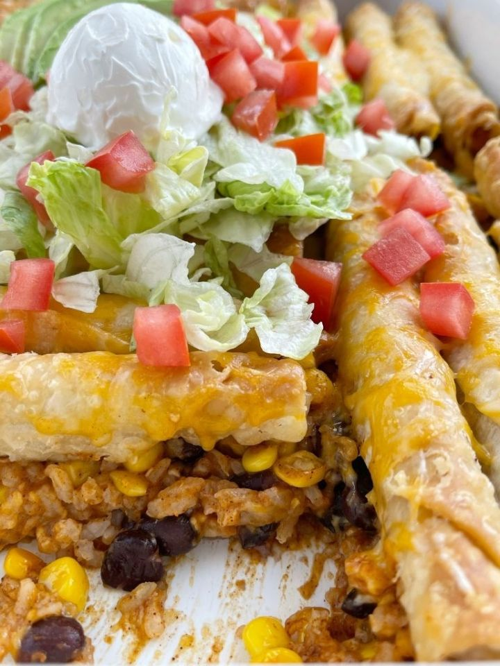 Easy casserole with frozen beef taquitos.