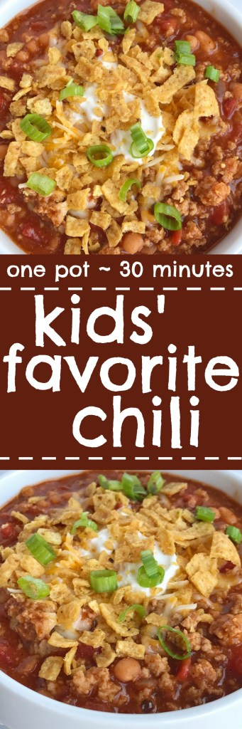 Even adults will love this mildly seasoned and sweet kids' favorite chili recipe. All you need is one pot, 30 minutes, and only a few simple ingredients. This is so good topped with shredded cheese, sour cream, and some crushed Fritos corn chips. It's kid friendly and kid approved by even the pickiest eaters.