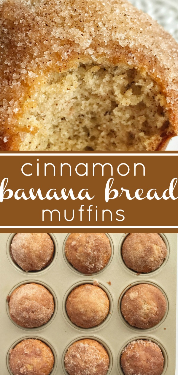 Cinnamon Banana Bread Muffins | The best banana muffin recipe is moist and topped with cinnamon & sugar sprinkles. Tastes like banana bread but in a muffin. #bananabread #muffins #snackrecipes