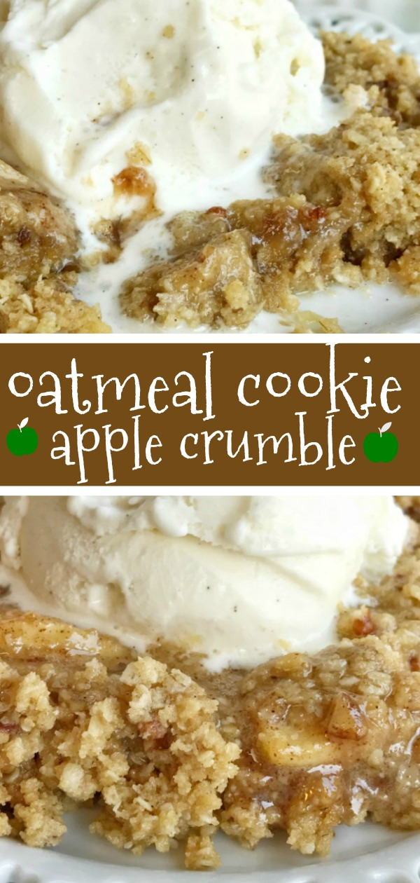 Oatmeal Cookie Apple Crumble | Apple Desserts | Apple Crisp Recipe | Oatmeal Cookie | Oatmeal cookie apple crumble is the most delicious Fall dessert. Tender, sweet & tart apples covered in cinnamon and butter and topped with an easy oatmeal cookie crumble topping. Serve it with a scoop of vanilla ice cream for an incredible apple crumble dessert. #appledesserts #dessertrecipe #applecrisp #easydessertrecipes
