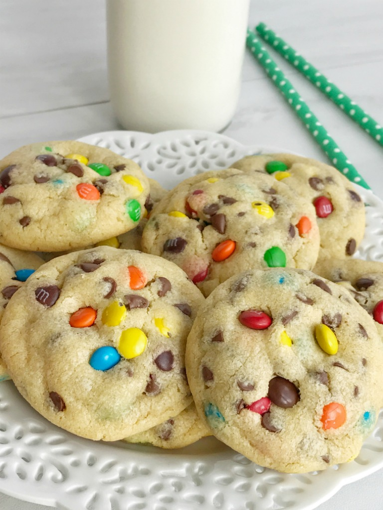 M&M Chocolate chip pudding cookies are thick, chewy, soft baked, and loaded with chocolate chips and mini m&m's! They're made super soft with the added pudding mix right in the dough. These cookies will disappear fast because they are always a hit and everyone loves them.