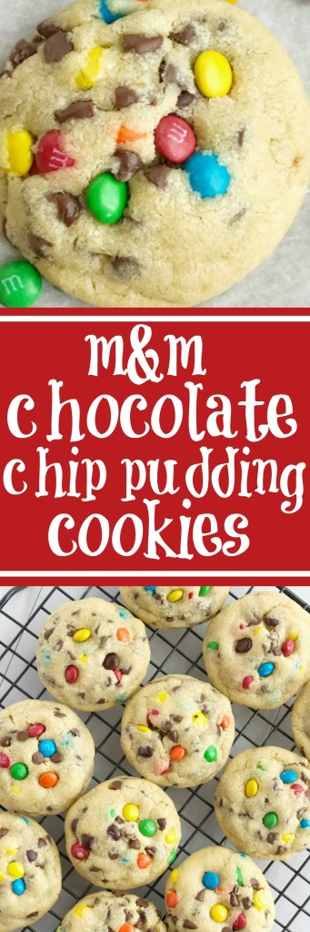 M&M Chocolate chip pudding cookies are thick, chewy, soft baked, and loaded with chocolate chips and mini m&m's! They're made super soft with the added pudding mix right in the dough. These cookies will disappear fast because they are always a hit and everyone loves this recipe | togetherasfamily.com