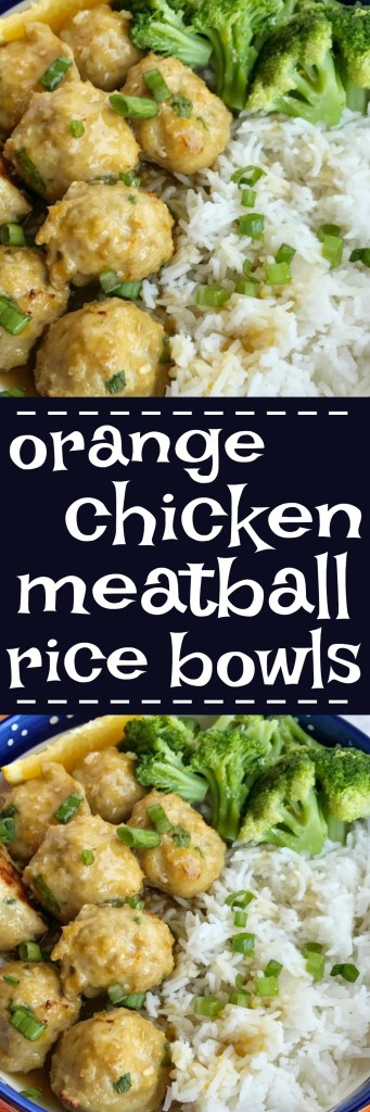 Oven baked orange chicken meatballs seasoned perfectly with fresh orange juice & zest and served with the most delicious homemade orange sauce. Build your rice bowls with rice of your choice, orange chicken meatballs, steamed broccoli or other vegetable, and garnish with green onions. These are so good and sure to be a hit at dinner | togetherasfamily.com #chicken #recipes #ricebowls