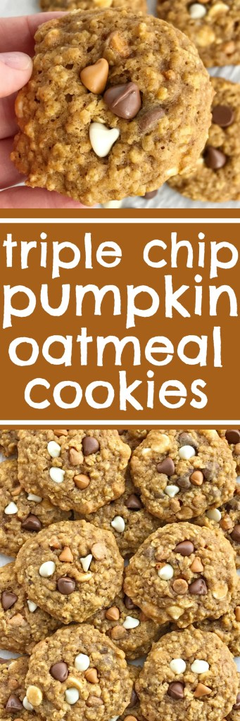 Soft baked, cake-like triple chip pumpkin oatmeal cookies are loaded with three kinds of chocolate; milk chocolate, butterscotch, and white chocolate! So soft and chewy, these pumpkin cookies are sure to be a hit. Pumpkin + warm pumpkin spices create a delicious cookie recipe that's loaded with oats and chocolate chips for lots of texture | togetherasfamily.com