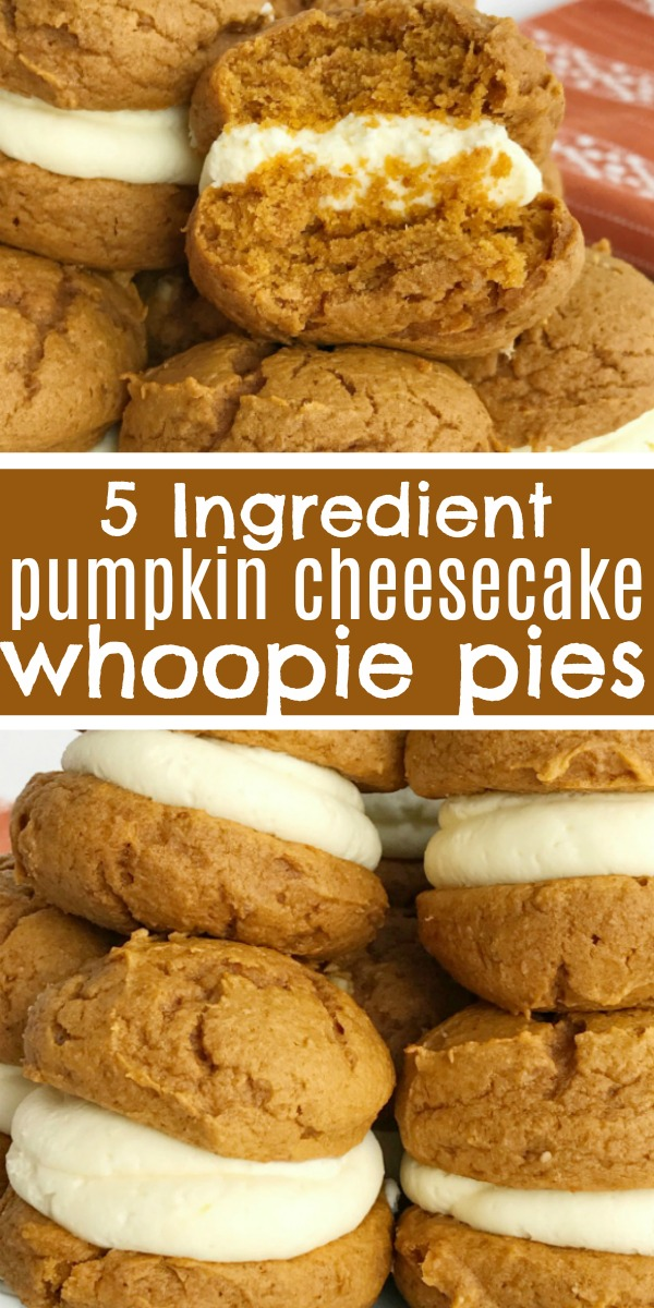 Pumpkin Cheesecake Whoopie Pies | Pumpkin Cookies | Pumpkin Recipe | Whoopie Pies | Pumpkin cheesecake whoopie pies are the only pumpkin dessert you will need this Fall. Fluffy & sweet cheesecake whipped cream in between two soft pumpkin cookies. Not only are these so quick & easy but they will disappear just as fast! And only 5 ingredients are needed! #pumpkin #pumpkinrecipes #pumpkincookies #dessert #easyrecipe