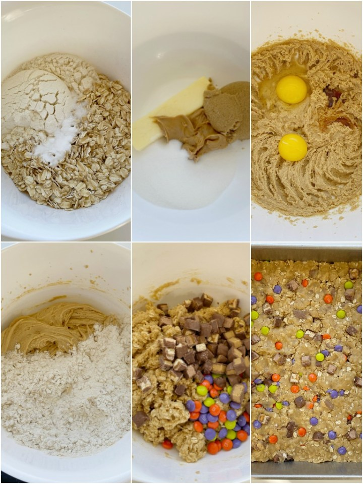 How to make leftover candy cookie bars with step-by-step photo instructions.
