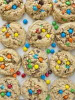 No Flour Monster Cookies are a naturally gluten-free cookie loaded with oats, peanut butter, chocolate chips, and m&m's. These monster cookies are soft-baked, chewy, absolutely delicious and they freeze perfectly.