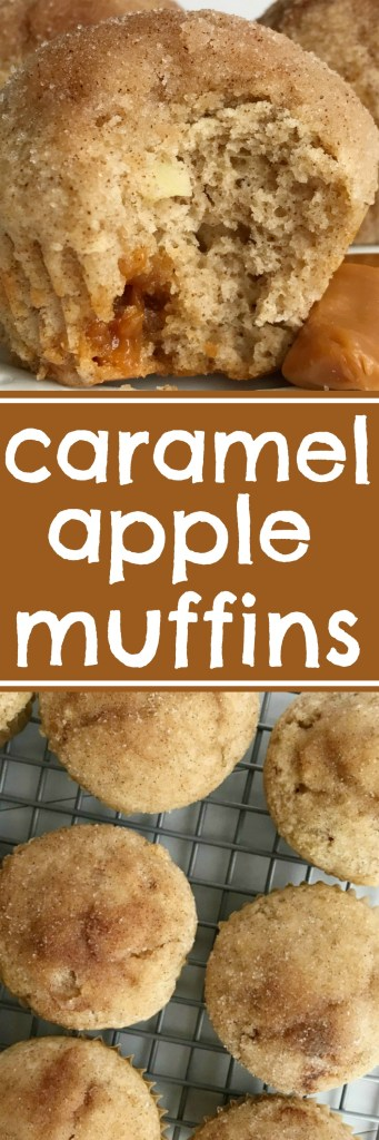 Caramel Apple Muffins are better than the bakery. Loaded with caramel chunks, cinnamon & sugar and apple chunks in a soft muffin recipe | www.togetherasfamily #caramelrecipes #caramel #muffinrecipes #muffins #apple #applerecipes