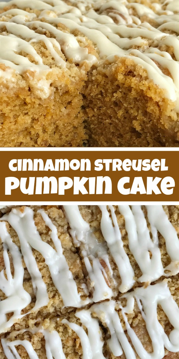 Cinnamon Streusel Pumpkin Cake | Pumpkin Cake | Pumpkin Recipe | Moist and tender pumpkin cake loaded with warm pumpkin spices and topped with a sweet cinnamon & brown sugar streusel. Mix up a simple vanilla glaze to drizzle over the top. This streusel pumpkin cake is the best Fall pumpkin dessert recipe! #pumpkinrecipes #pumpkindessert #cake #easydessertrecipe #cakerecipe