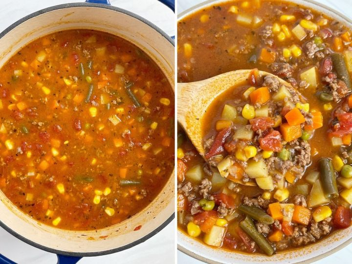 Two picture collage of how to make this hamburger soup with step by step pictures.