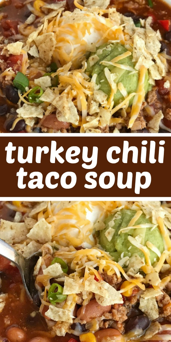 Turkey Chili Taco Soup | Taco Soup | Turkey Chili | Soup Recipe | Turkey chili taco soup is loaded with all the best southwest flavors. Turkey taco meat, chili beans & spices, corn, tomato, and taco soup seasonings all combine for one deliciously hearty chili taco soup. It's the best of both worlds. Top with cheese, sour cream, guacamole, and crushed tortilla chips. #soup #chili #fallrecipes #tacosoup #groundturkey #dinner #easydinner #recipeoftheday