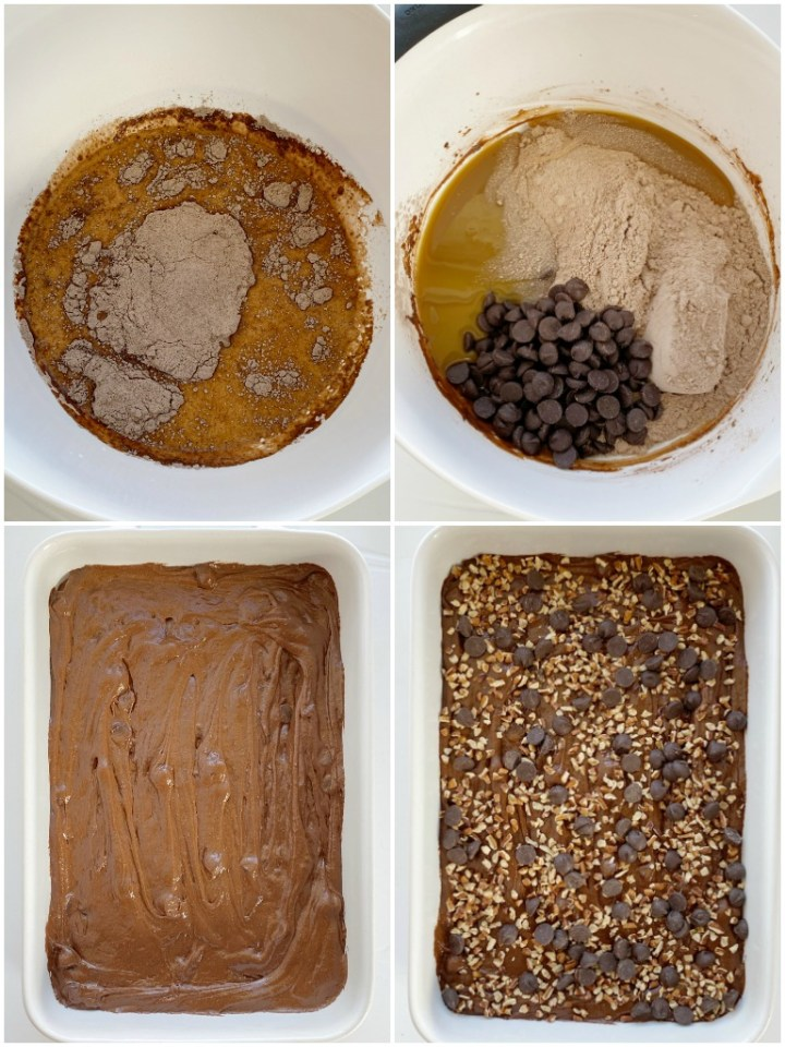 How to make turtle dump cake with caramel and chocolate with step by step photo instructions for each step in the recipe.