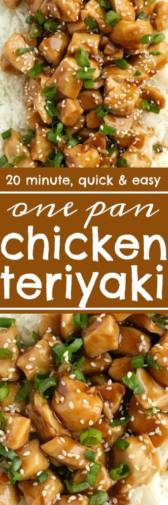 One Pan Chicken Teriyaki   One pan chicken teriyaki is the fastest dinner ever! Only 20 minutes, one pan, and a few simple ingredients are all you need for this delicious dinner recipe. Sweet homemade teriyaki sauce simmers with chunked tender chicken. Serve over rice and garnish with green onions   www.togetherasfamily.com #dinnerrecipes #easydinnerrecipes #chickenrecipes #teriyakichicken #easydinner