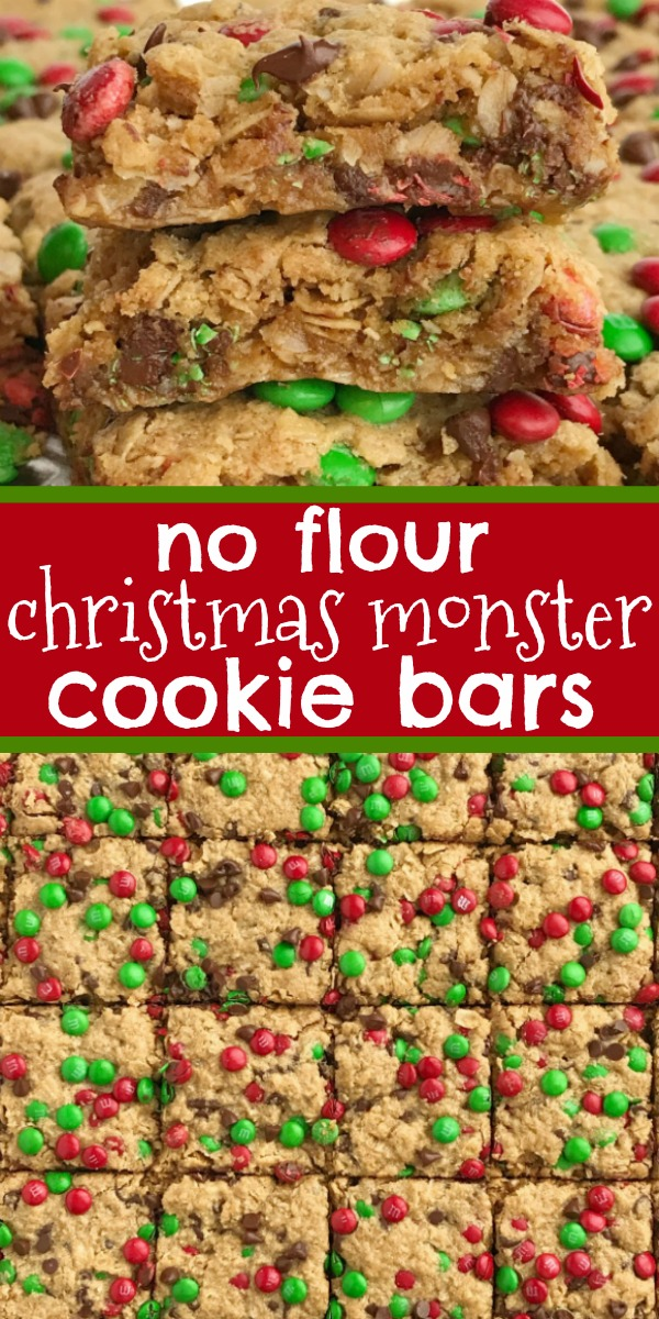 No Flour Christmas Monster Cookie Bars | Christmas Recipe | Holiday Baking | No Flour Cookie Bars | Celebrate the holidays and make Santa's favorite Christmas cookie bars! No flour Christmas cookie bars are loaded with oats, peanut butter, chocolate, and festive green & red mini m&m's. Thick, chewy bars that everyone loves and they only take minutes to make. #holidayrecipe #christmasrecipe #noflour #cookies #baking #dessertrecipe #recipeoftheday
