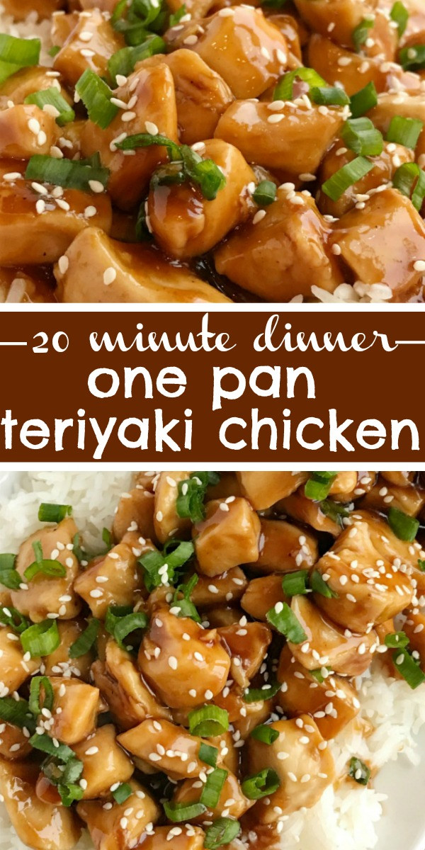 One Pan Chicken Teriyaki | Chicken Teriyaki Recipe | Skillet Pan | One pan chicken teriyaki is the fastest dinner ever! Only 20 minutes, one pan, and a few simple ingredients are all you need for this delicious dinner recipe. Sweet homemade teriyaki sauce simmers with chunked tender chicken. Serve over rice and garnish with green onions. #dinner #dinnerrecipe #chicken #onepan #skilletpan
