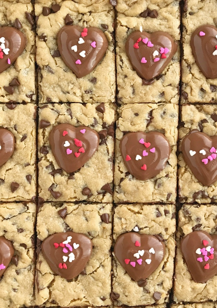 Reese's Hearts Oatmeal Chocolate Chip Cookie Bars   Cookie Bars   Oatmeal Chocolate Chip Cookies   Valentine's Day   Dessert Recipe   Together as Family #valentinesdayideas #reesesrecipes #dessertrecipes