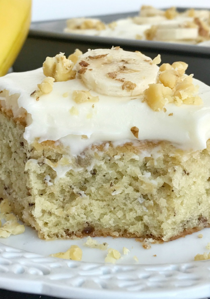 banana bread cake with cream cheese frosting together as family