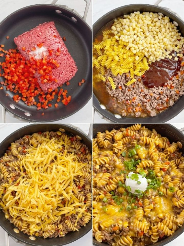How to make bbq beef pasta skillet with step by step instructions and pictures.