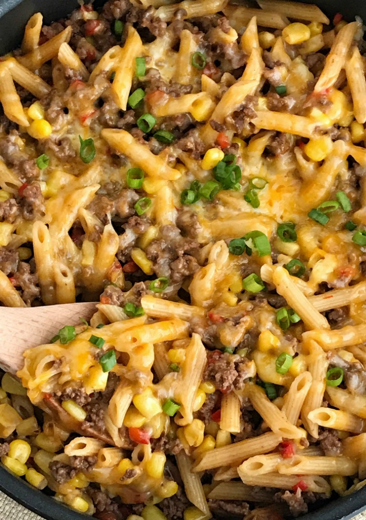 30 Minutes One Pan BBQ Beef Pasta Skillet