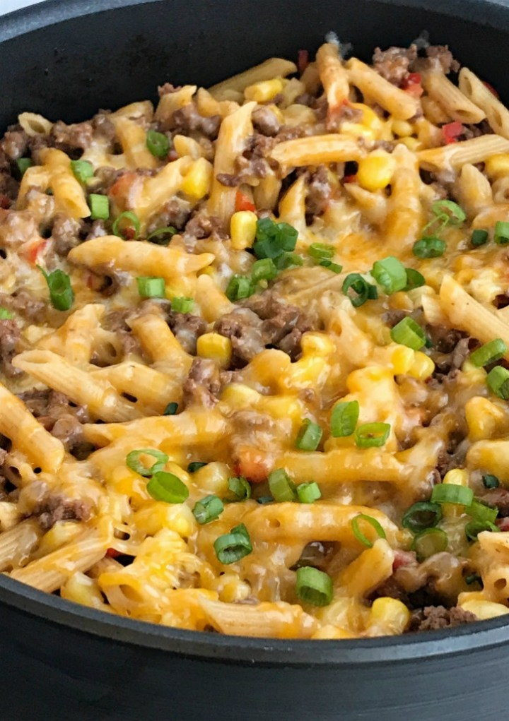 BBQ Beef Pasta Skillet | One Pan Dinner Recipe | Easy Dinner Recipe | Family Dinner Ideas | Recipes with ground beef | 30 Minute Dinner Recipes | 30 minutes, one pan is all you need for this delicious family dinner that's full of ground beef, corn, pasta, and covered in cheese | #easydinnerrecipes #onepandinner #groundbeefrecipes #dinnerrecipes