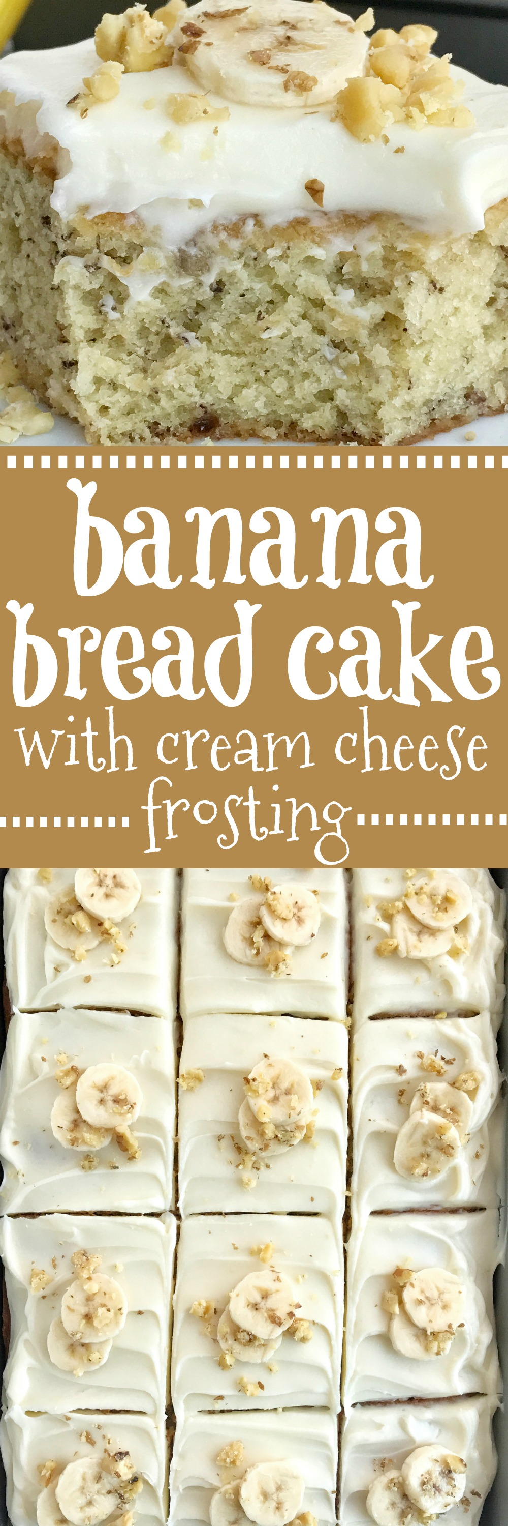 Banana Bread Cake With Cream Cheese Frosting Together As