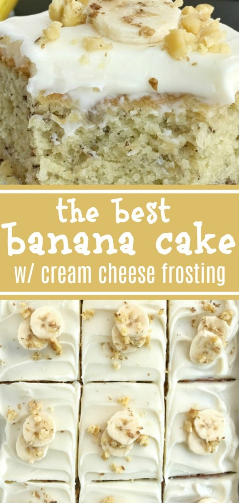 Banana Bread Cake w/ Cream Cheese Frosting | Banana Cake | Banana Desserts | Cream Cheese Frosting | Banana bread cake topped with a thick cream cheese frosting, and baked up perfectly in a 9x13 baking dish. So much banana flavor, so soft & moist, and just crazy delicious. Garnish with sliced fresh bananas and chopped walnuts for an amazing dessert! Together as Family #bananabread #cake #dessert #easydessertrecipes