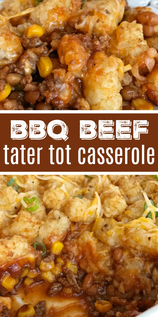 BBQ Beef Tater Tot Casserole | Casserole Recipe | Dinner | Tater Tot Casserole | Tater tot casserole is a family favorite dinner recipe. Seasoned bbq ground beef is topped with cheese and mini tater tots that are cooked to crispy perfection. Kids love this sweet bbq tater tot casserole. #casserole #dinnerrecipe #recipeoftheday #groundbeef #bbq