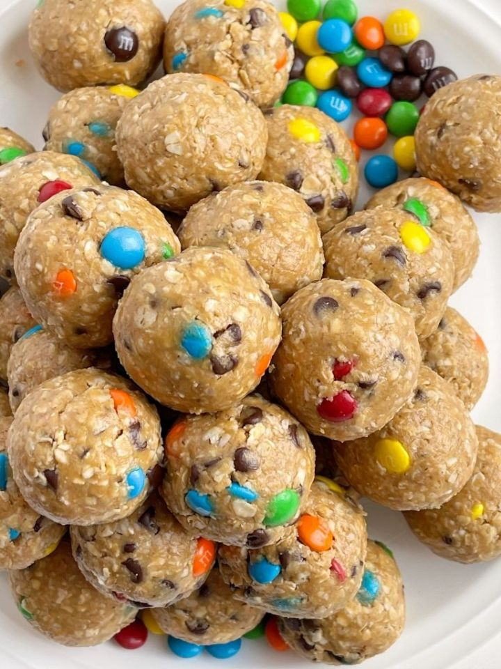 Energy ball recipe that tastes like monster cookies with only 6 ingredients.