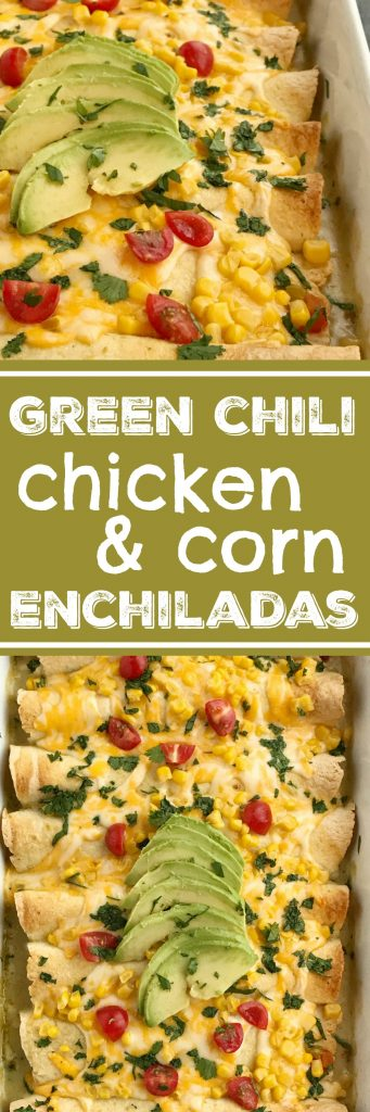 Green Chili Corn Enchiladas | Enchilada Recipes | Chicken Recipes | Mexican Food | Easy Dinner Recipes | Green chili chicken corn enchiladas are an easy family dinner that can be on the table in almost 30 minutes! Use leftover chicken or a rotisserie chicken, canned corn, cheese, and green chili enchilada sauce. Easy and simple ingredients for a delicious dinner recipe #dinnerrecipes #easyrecipes #enchiladarecipes
