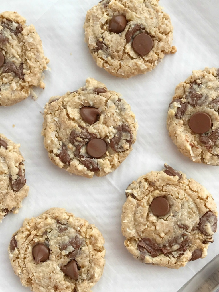 Chocolate Chip Treasure Cookies | Chocolate chip treasure cookies are loaded with texture thanks to the coconut, walnuts, and the special ingredient; sweetened condensed milk | Egg free | Cookie Recipes | Dessert Recipes | #cookierecipes #cookies #dessertrecipes #eggfreerecipes