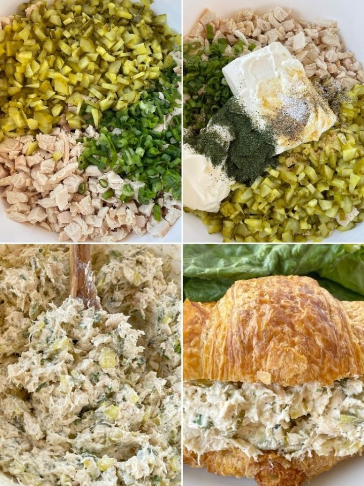 How to make dill pickle chicken salad with step by step picture instructions.