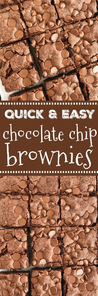 "Quick & Easy Chocolate Chip Brownies | Homemade Brownies | Easy Recipes | Dessert Recipes | Quick easy chocolate chip brownies are thick, chewy, moist, cake-like homemade brownies topped with chocolate chips! The perfect sweet treat or dessert with a scoop of ice cream. One bowl, and a ""dump n' go"" recipe makes these homemade brownies so quick and easy to make. #dessert #dessertrecipes #brownies"