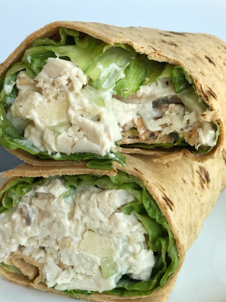 Cashew Chicken Salad Wraps | Chicken Salad | Salad with Chicken | Wraps | Chicken | Cashew chicken salad wraps are the perfect no oven lunch or dinner for hot summer days. Chicken salad made with chunks of rotisserie chicken, cashews, apples, and cucumbers. Serve inside a wrap with some green leaf lettuce or inside rolls or croissants. #easydinnerrecipes #chickensalad #dinner