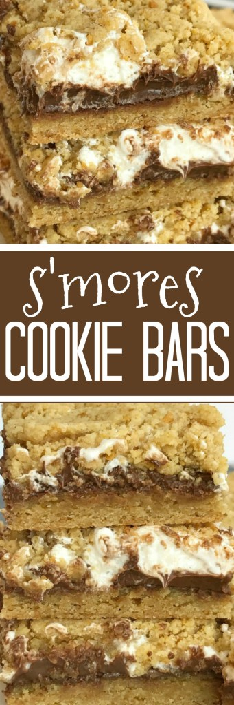 S'mores Cookie Bars   S'mores Recipe   Cookie Bars   S'mores   Get ready for summer with these delicious S'mores Cookie Bars. Graham cracker cookie dough is layered with marshmallow cream and Hershey milk chocolate bars for a dessert that is reminiscent of everyone's campfire favorite treat. #dessertrecipes #easydessertrecipes #smores #chocolate