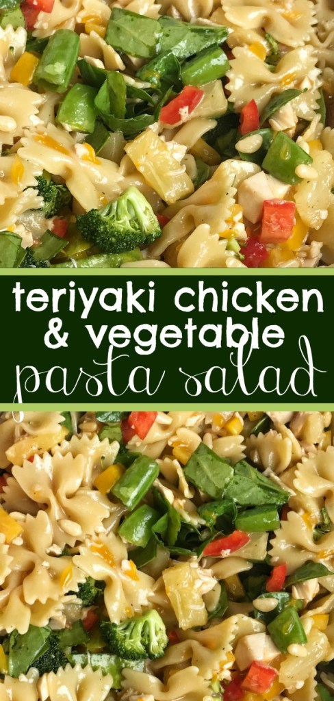 Teriyaki Chicken Pasta Salad | Pasta Salad | Side Dish | Chicken | Teriyaki | Teriyaki Chicken Pasta Salad is a fun twist to traditional pasta salad. Chunks of chicken, bell peppers, spinach, broccoli, snap peas, mandarin oranges, and pineapple tidbits covered in an easy and homemade teriyaki dressing. #recipe #salad #pastasalad #chicken