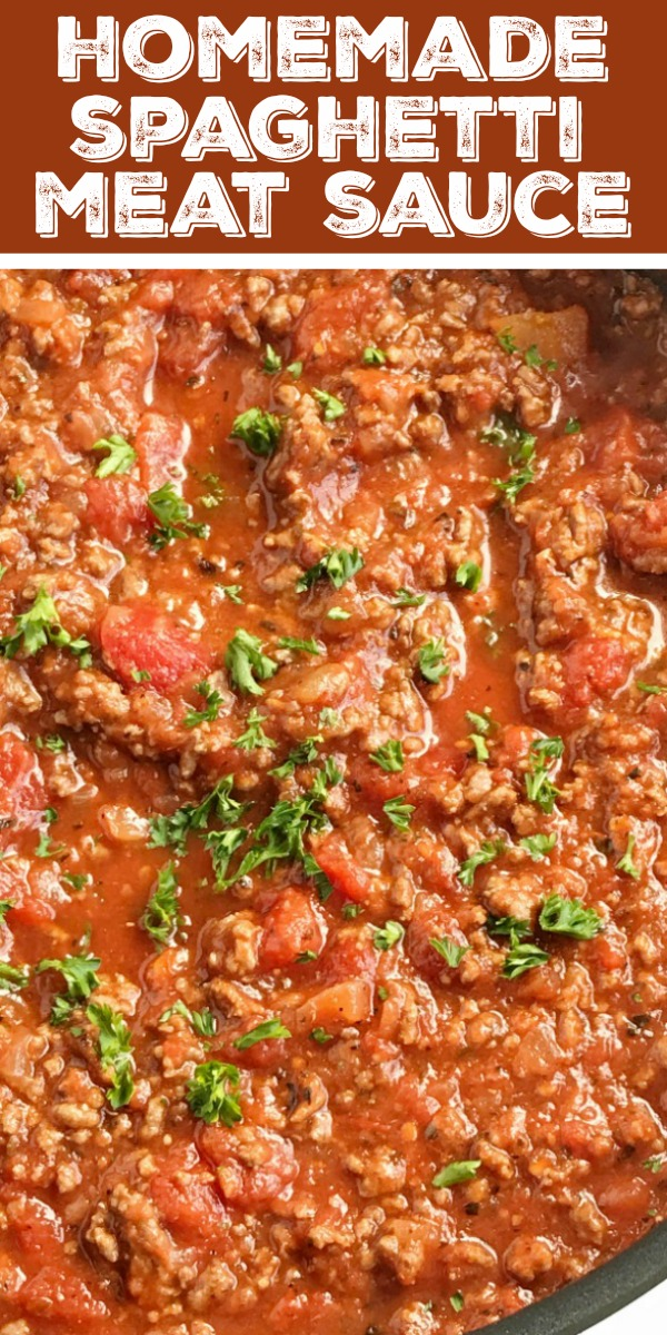 Homemade Spaghetti Meat Sauce | Spaghetti | Pasta Recipe | Ditch the canned spaghetti sauce for this flavorful, beefy, homemade spaghetti meat sauce. Only takes a few minutes to prepare and then let it simmer for amazing flavor. Serve over pasta noodles with some garlic bread for a delicious dinner that will please everyone. #dinner #pasta #easydinnerrecipe #spaghetti #spaghettisauce #homemade #dinnerrecipes #dinnerideas #groundbeef #healthyrecipe