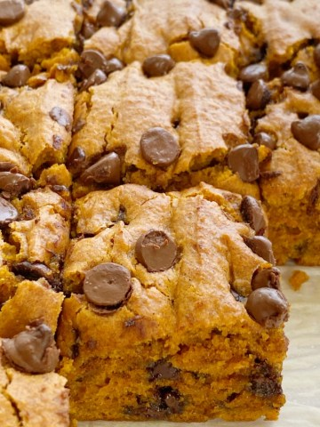 Pumpkin Chocolate Chip Bars are super soft & moist, cake-like, and loaded with milk chocolate chips. They have the perfect blend up pumpkin, pumpkin pie spice, and cinnamon. This pumpkin bar recipe uses an entire can of pumpkin so there will no wondering what to do with the leftovers.