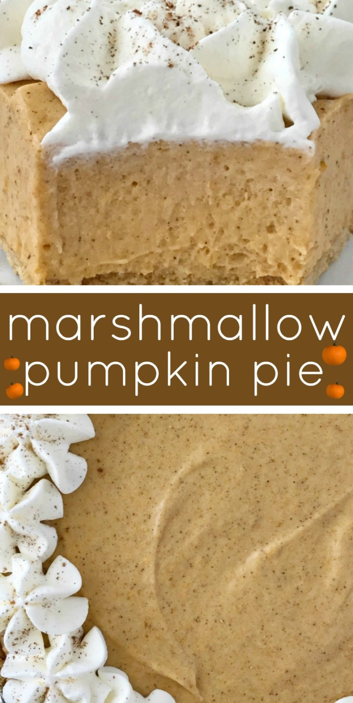 No Bake Marshmallow Pumpkin Pie | No Bake Pumpkin Pie | Pumpkin Recipes | No bake pumpkin pie with marshmallows is a sweet and creamy twist to classic pumpkin pie. Marshmallow, Cool whip, and pumpkin combine to make a delicious pumpkin pie in a store-bought graham cracker crust. #pumpkin #pumpkinrecipes #pumpkinpie #nobakerecipes #nobakedesserts #fallbaking
