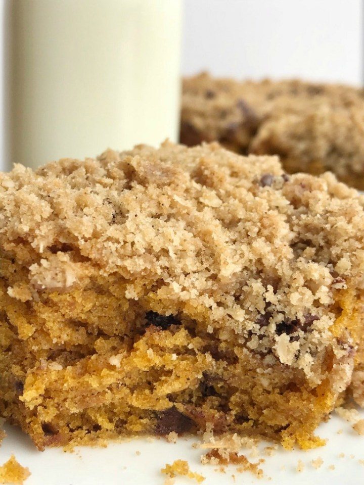 Chocolate Chip Streusel Pumpkin Cake   Pumpkin Cake Recipe   The best pumpkin cake studded with chocolate chips and topped with a crumbly, sweet streusel topping. This chocolate chip streusel pumpkin cake is a fun twist to traditional pumpkin cake and oh so good! #pumpkin #pumpkinspice #pumpkinrecipes #pumpkincake #dessert #recipeoftheday #cake #thanksgivingrecipe