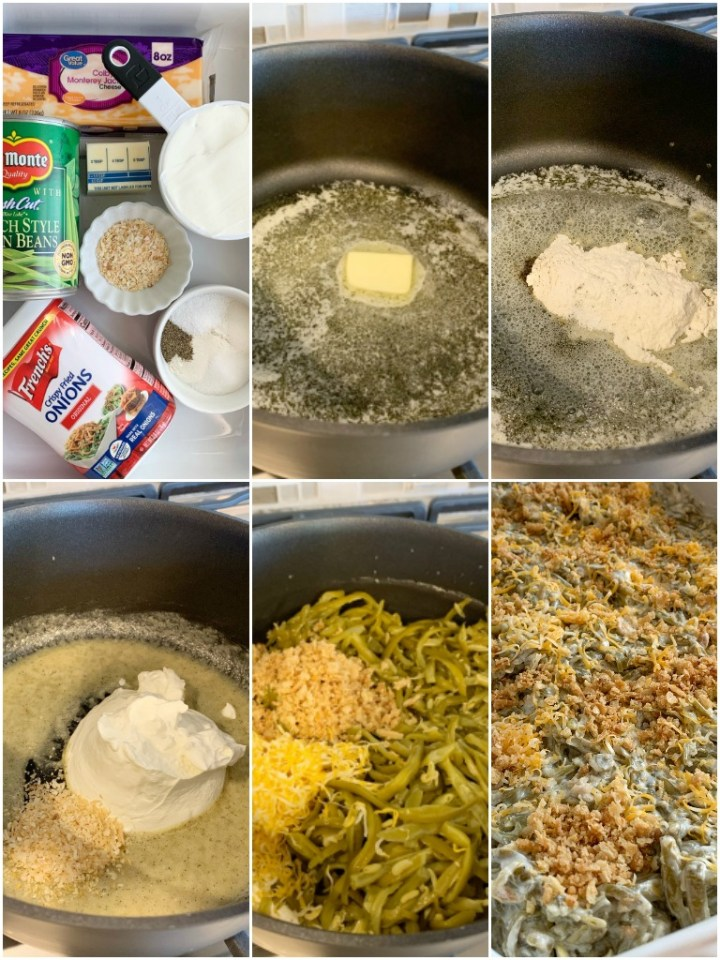 Green bean casserole recipe. Canned green beans, cheese, french fried onions, and a few seasonings is all you need for the best green bean casserole. This green bean casserole has no mushrooms and no creamed soups in it!