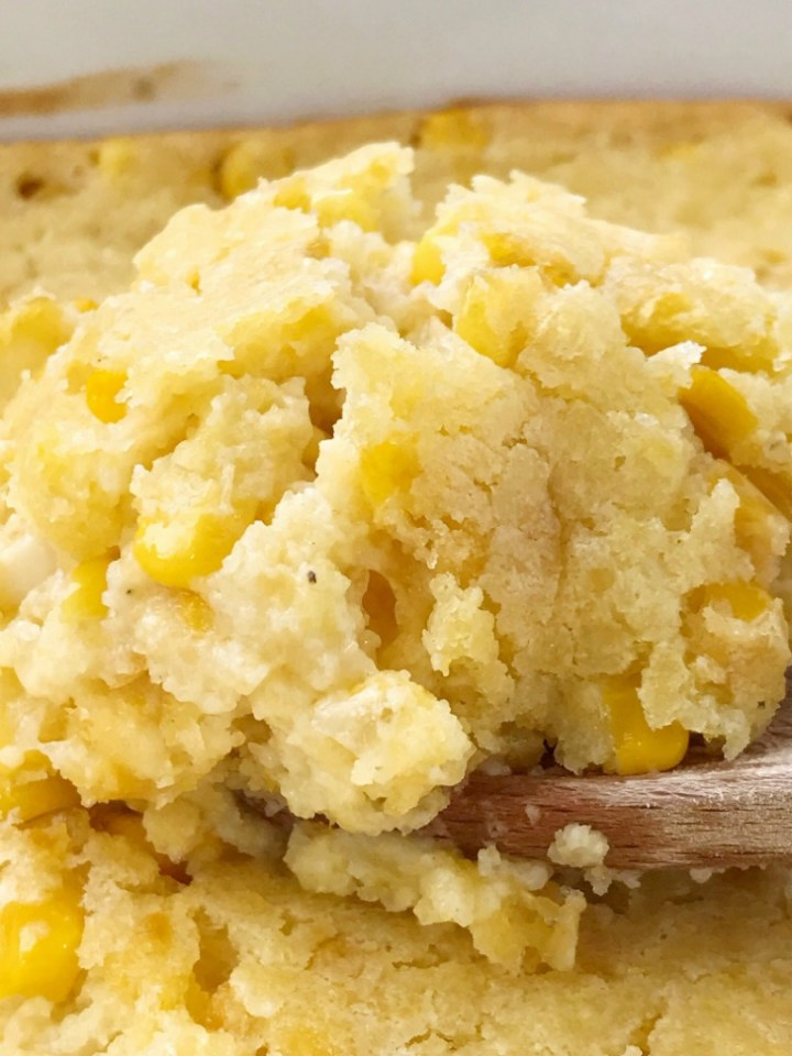 Sweet Corn Casserole | Corn Casserole | Thanksgiving Recipe | Classic sweet corn casserole is a comforting side dish that is also great for a Holiday dinner. This corn casserole uses creamed corn, gold n' white corn, sour cream, and a package of cornbread mix. #casserole #corncasserole #thanksgivingrecipe #recipeoftheday #sidedish