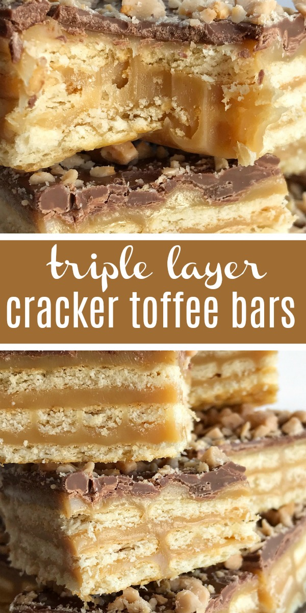 Triple Layer Cracker Toffee Bars | Toffee Recipe | Caramel Recipe | Cracker Toffee | These easy caramel & chocolate triple layer cracker toffee bars are a fun twist to traditional cracker toffee. One pan, three layers, and only about 10 minutes is all you need for sweet, buttery, salty perfection. It's a must make Christmas recipe! #holidayrecipe #christmasrecipe #dessert #easydessertrecipes #caramel #toffee #recipeoftheday